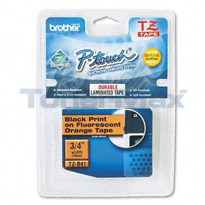BROTHER TZ SERIES TAPE CTG BLACK/FL. ORANGE 3/4IN
